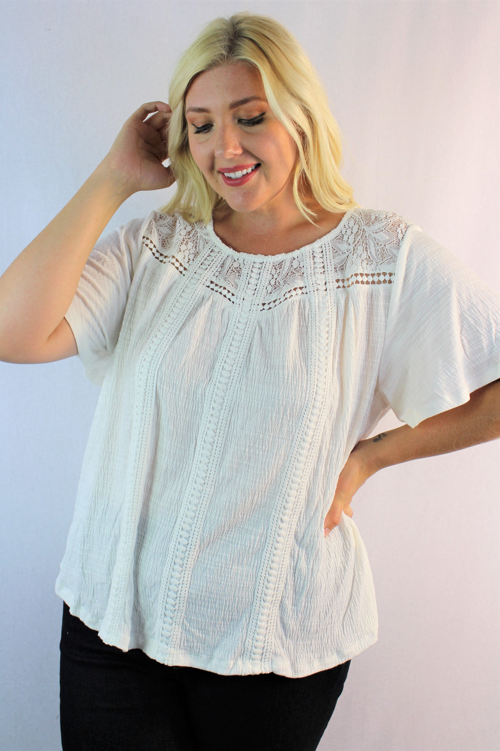 Women's Plus Size Short Sleeve Blouse w/ Lace & Crochet Details