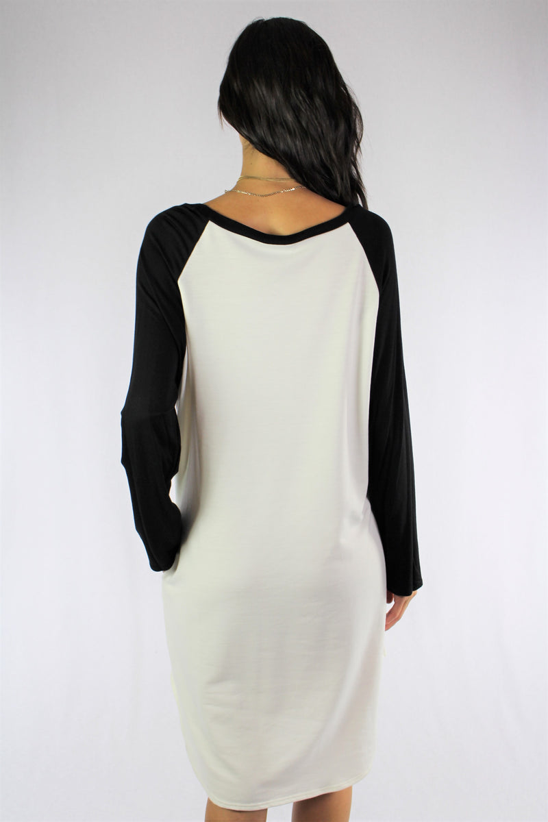 Long Sleeve French Terry Raglan Dress with Pockets