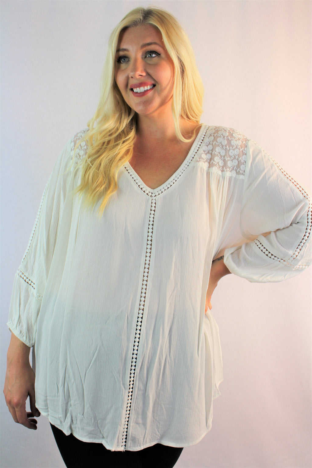 Women's Plus Size 3/4th Sleeve with Crochet Detail