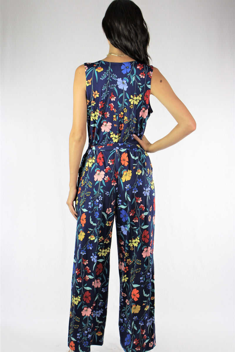 Floral Sleeveless Jumpsuit with Pockets