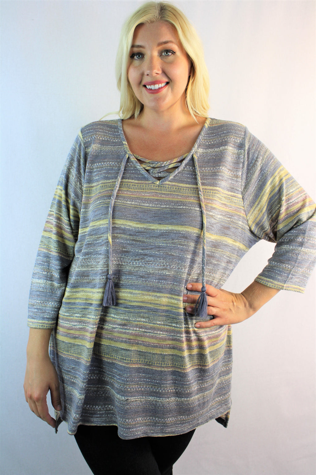 Women's Plus Size Tunic Top with Criss Cross Detail