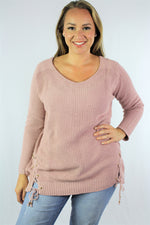 Plus Size Long Sleeve Knitted Top with Criss Cross Detail