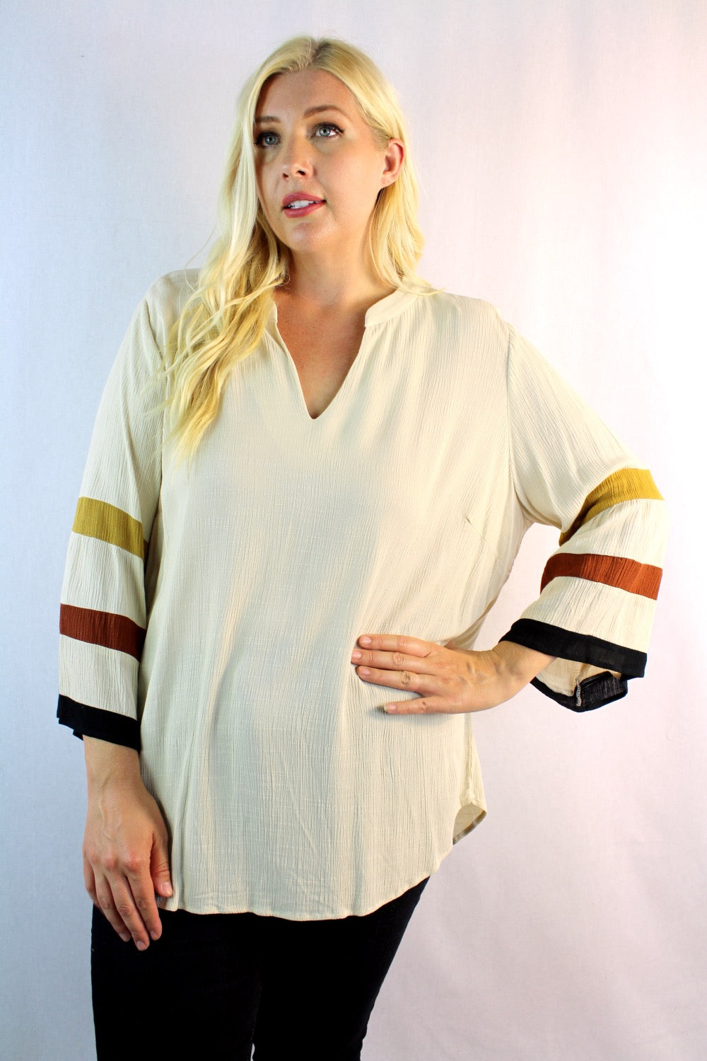Women's Plus Size Bell Sleeve Blouse with Stripe Detail