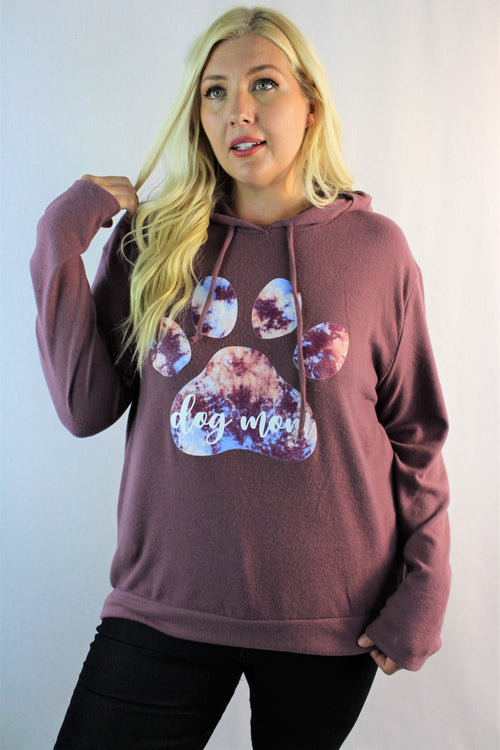 "Women's Plus Size ""Dog Mom"" Comfy Hoodie"