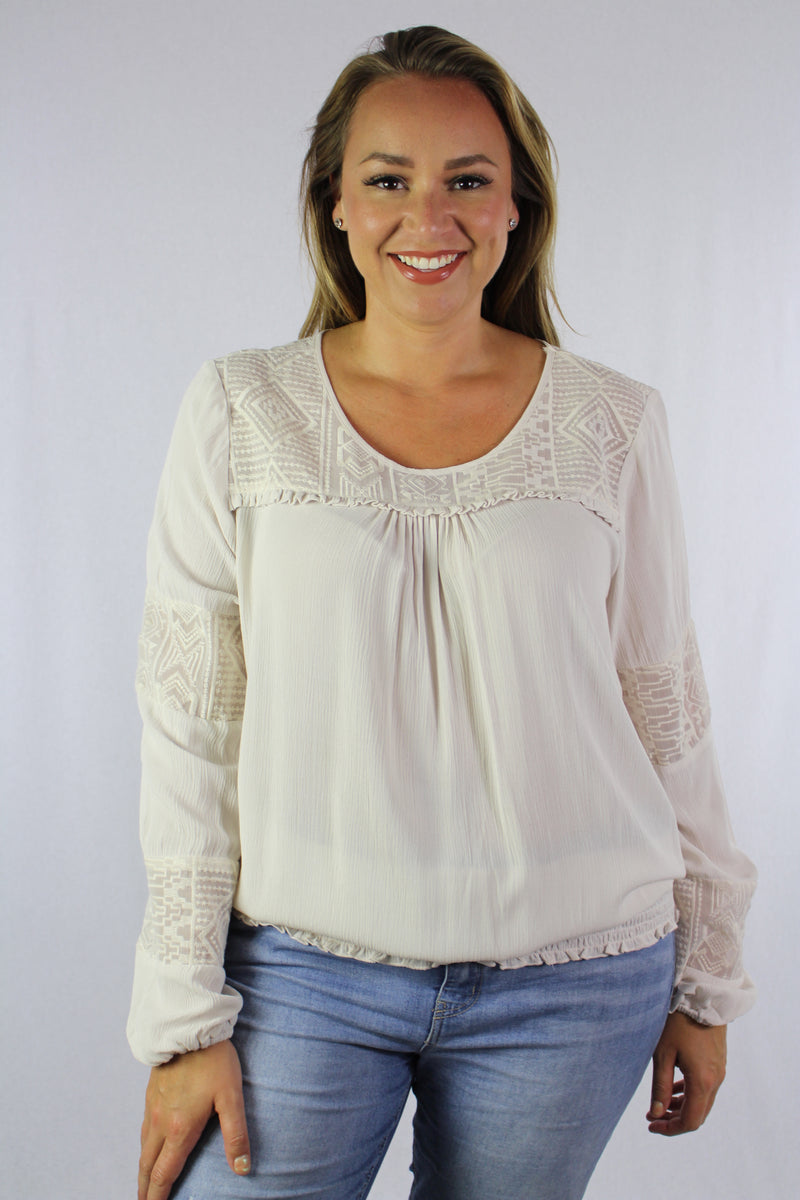 Plus Size Long Sleeve Embroidered Top