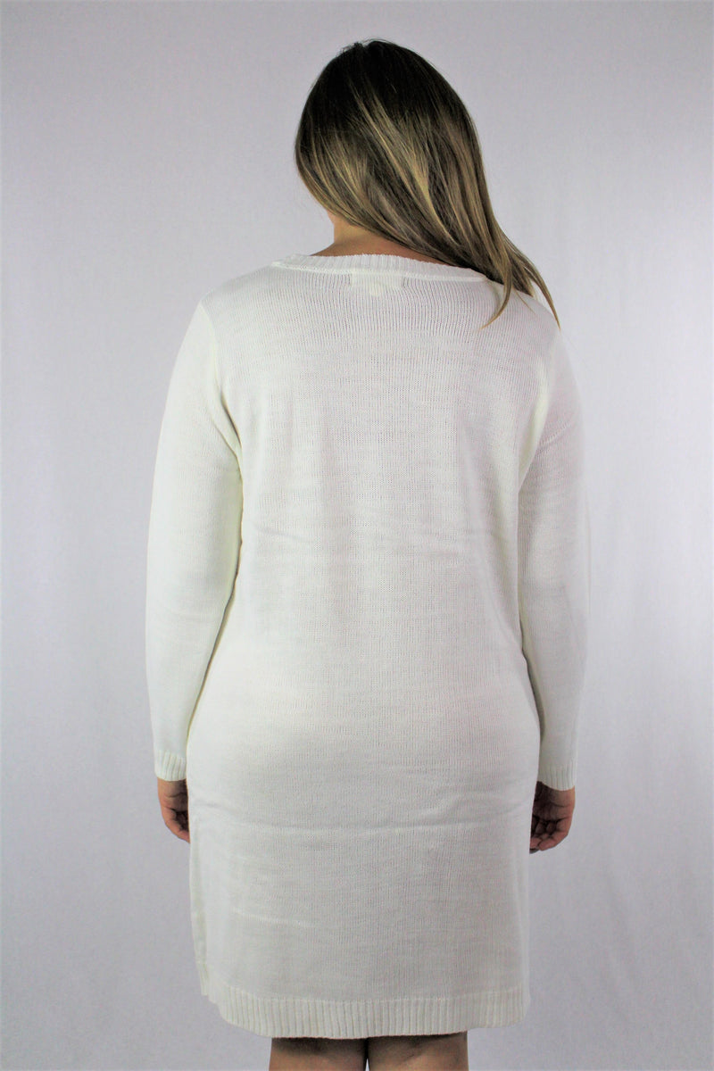 Plus Size Long Sleeve Snowman Dress