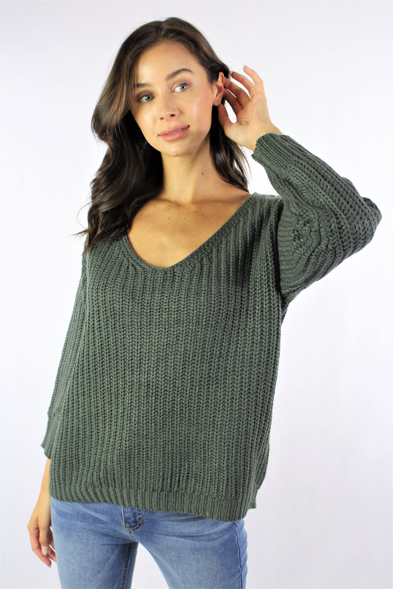 Knitted Sweater With Criss Cross Lace