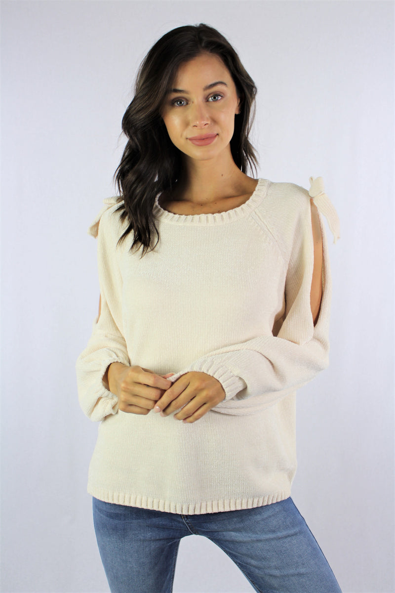 Cold Shoulder Knitted Sweater With Knot