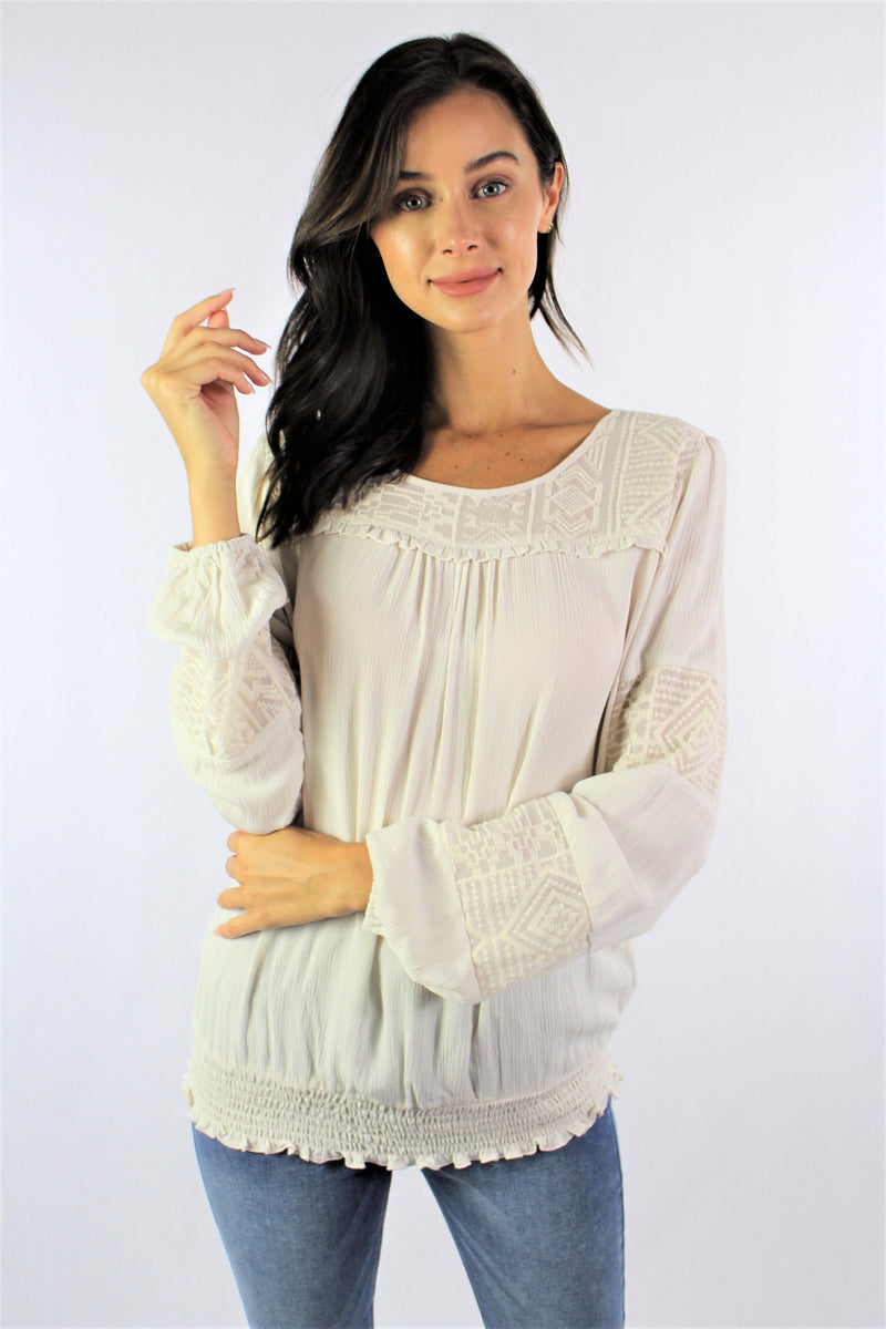 Women's Long Sleeve Embroidered Top