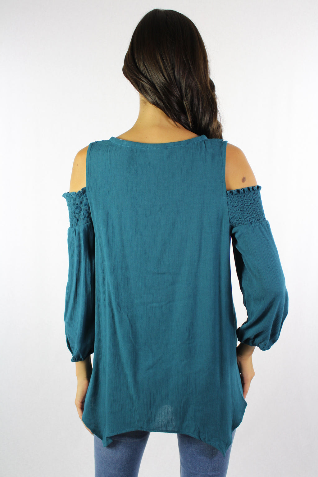 Women's 3/4th Sleeve Cold Shoulder Top with Crochet Detail