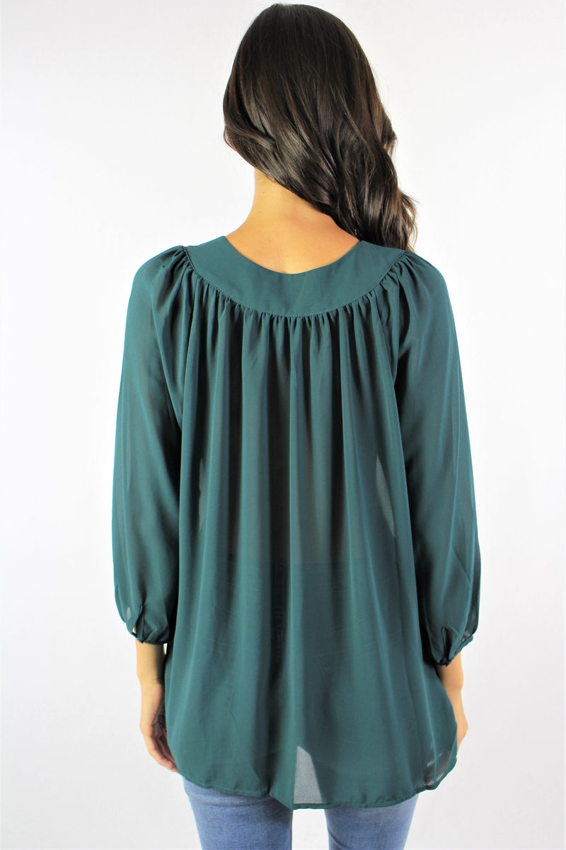 Long Sleeve Chiffon Top with Lace Up Neckline