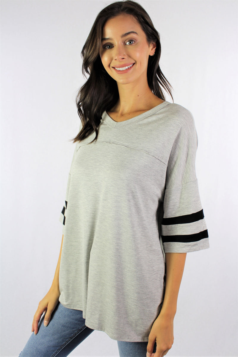 Women's Elbow Sleeve Relaxed Fit Baseball Tee