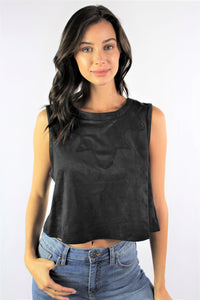 Women's Sleeveless Black Crop Top
