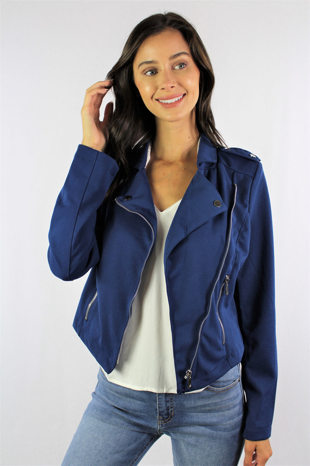 Long Sleeve Drape Front Jacket with Zip Pockets