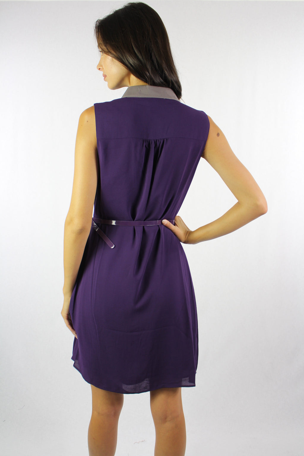 Women's Collar Dress with Belt and Button Detail