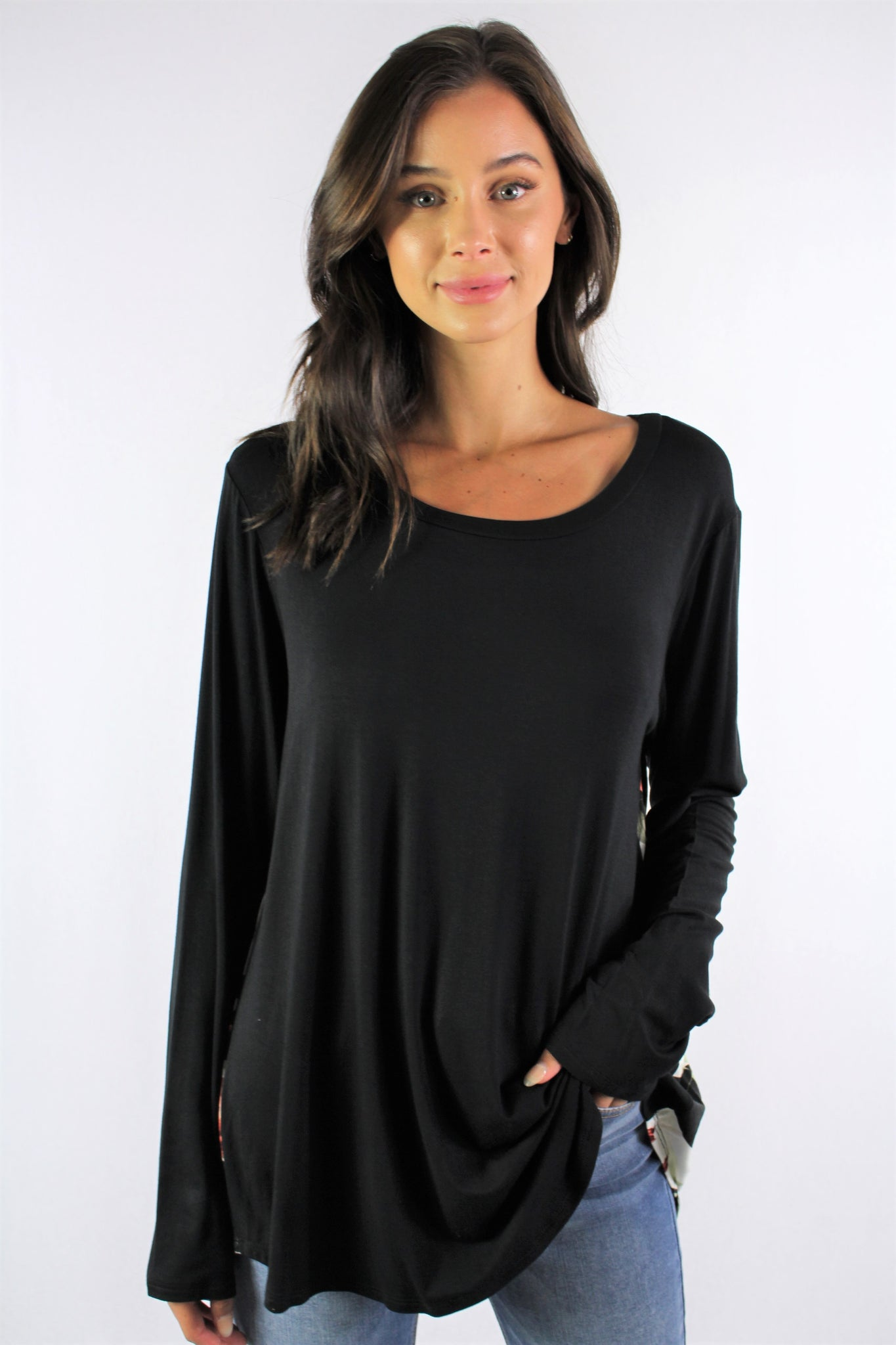 Women's Long Sleeve Round Neck Top with Floral Detail