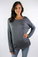 Women's Long Sleeve Round Neck Top with Stitches Detail