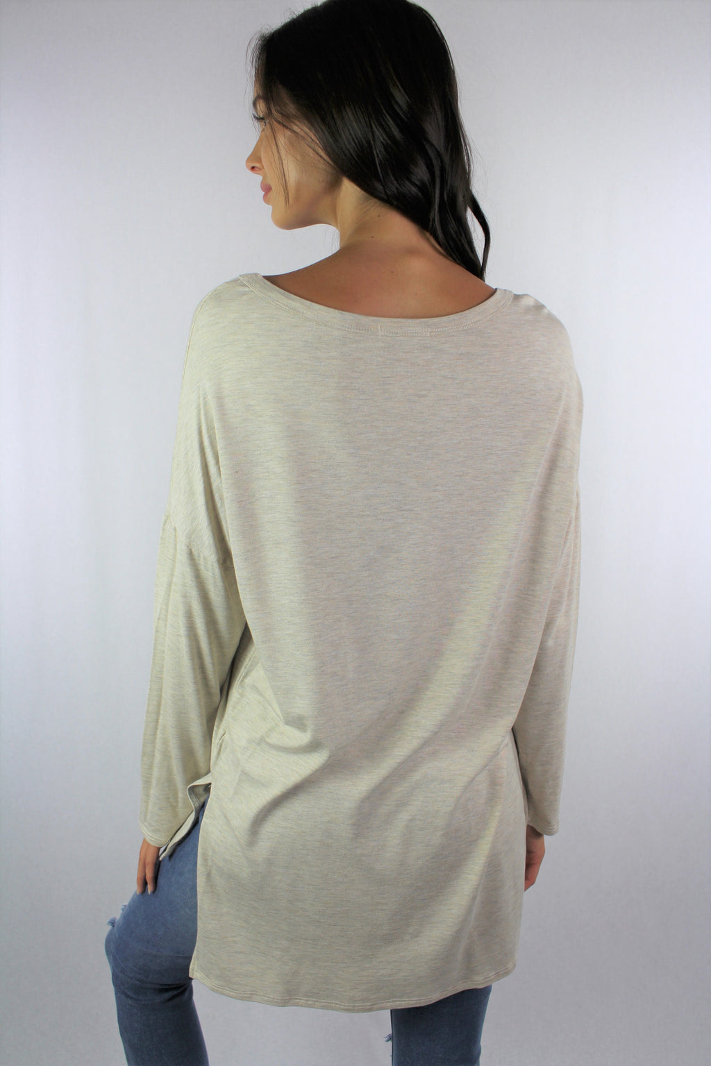 Women's Long Sleeve Uneven Hem Round Neck Top