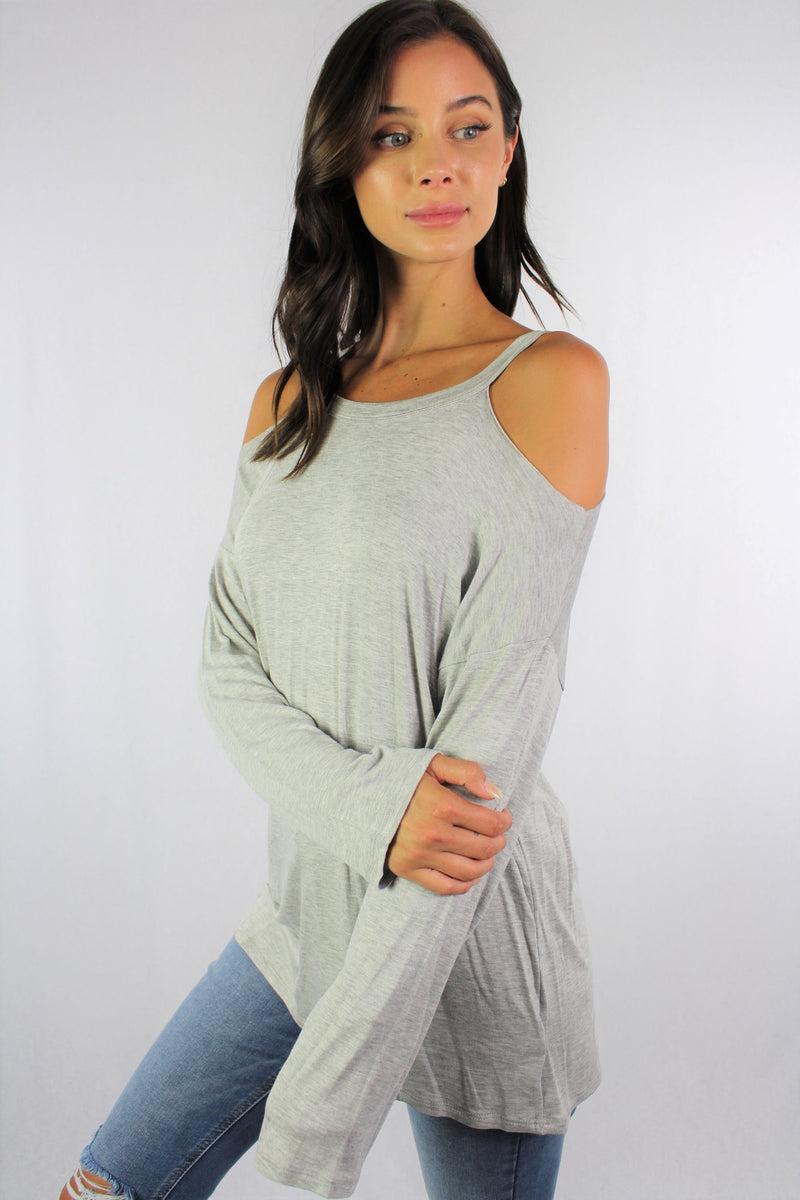 Women's Long Sleeve Cold Shoulder Top