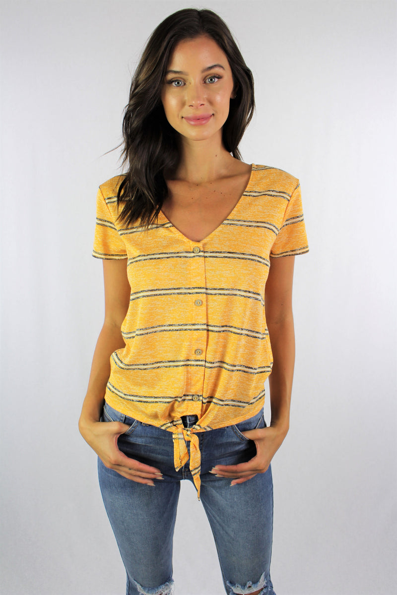 Women's Short Sleeve V Neck with Front Knot and Button Detail