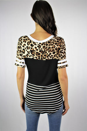 Women's Printed T Shirt with Stripe Sleeve