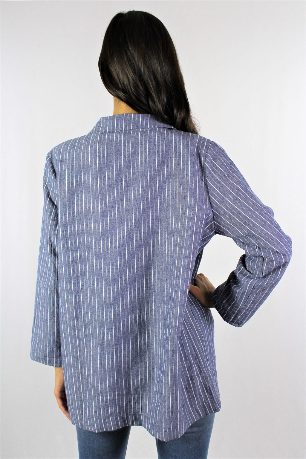Women's Long Sleeve Striped Blazer with Front Pockets