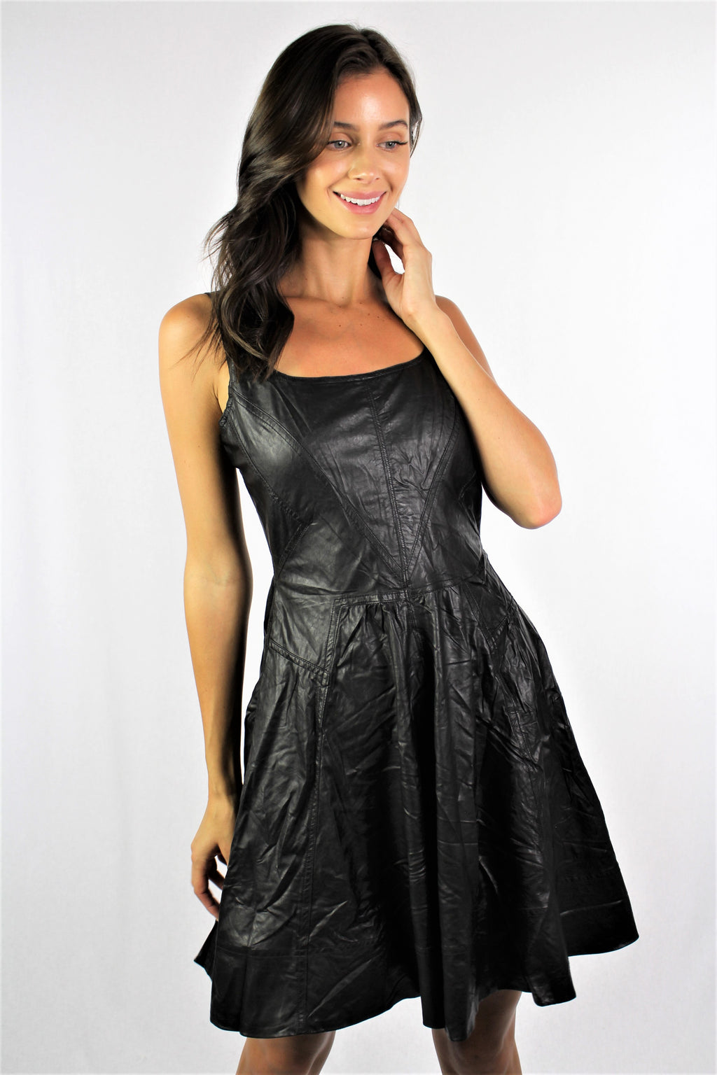 Black Pleather Zip Back Dress