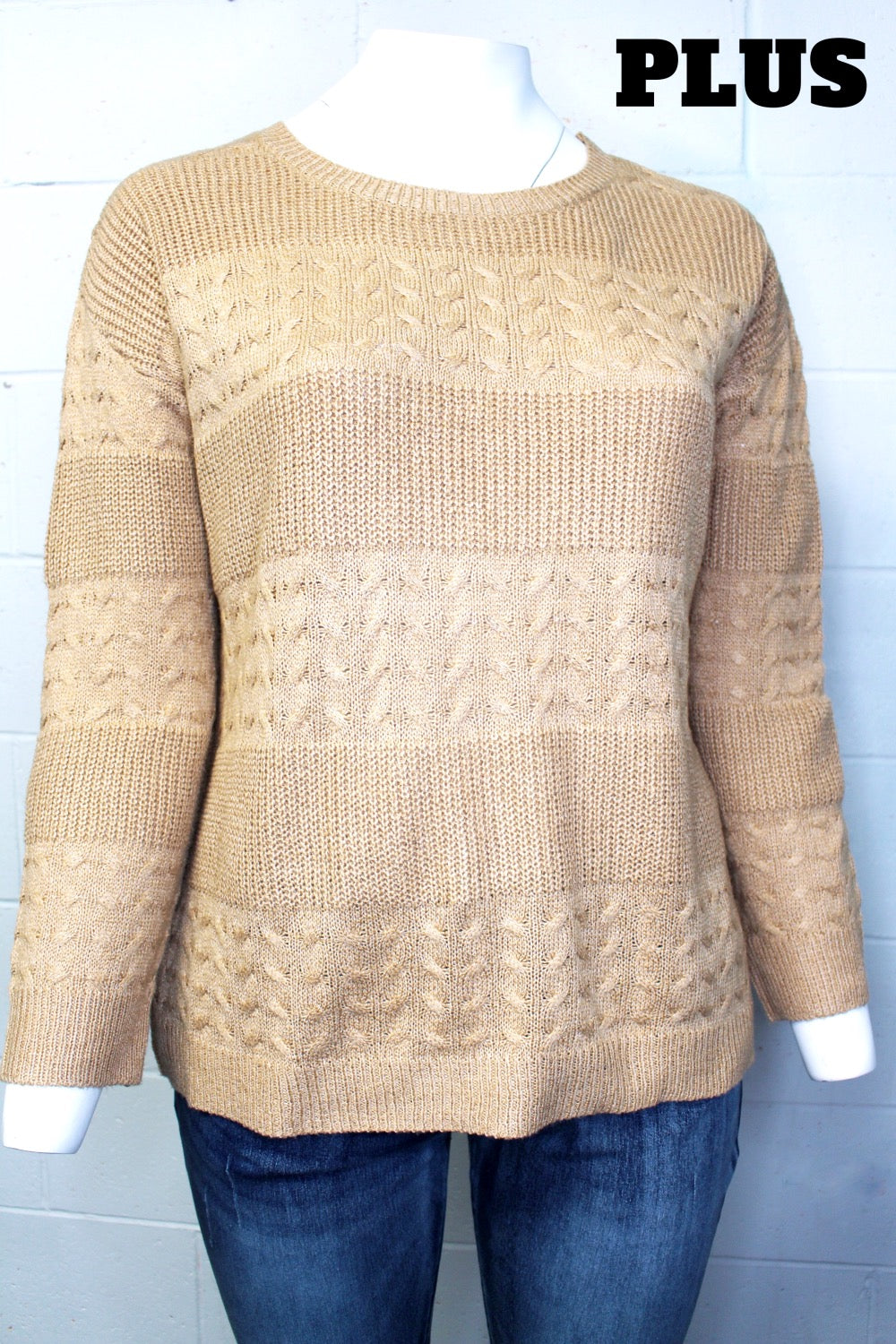 Women's Plus Size Long Sleeve Knitted Sweater