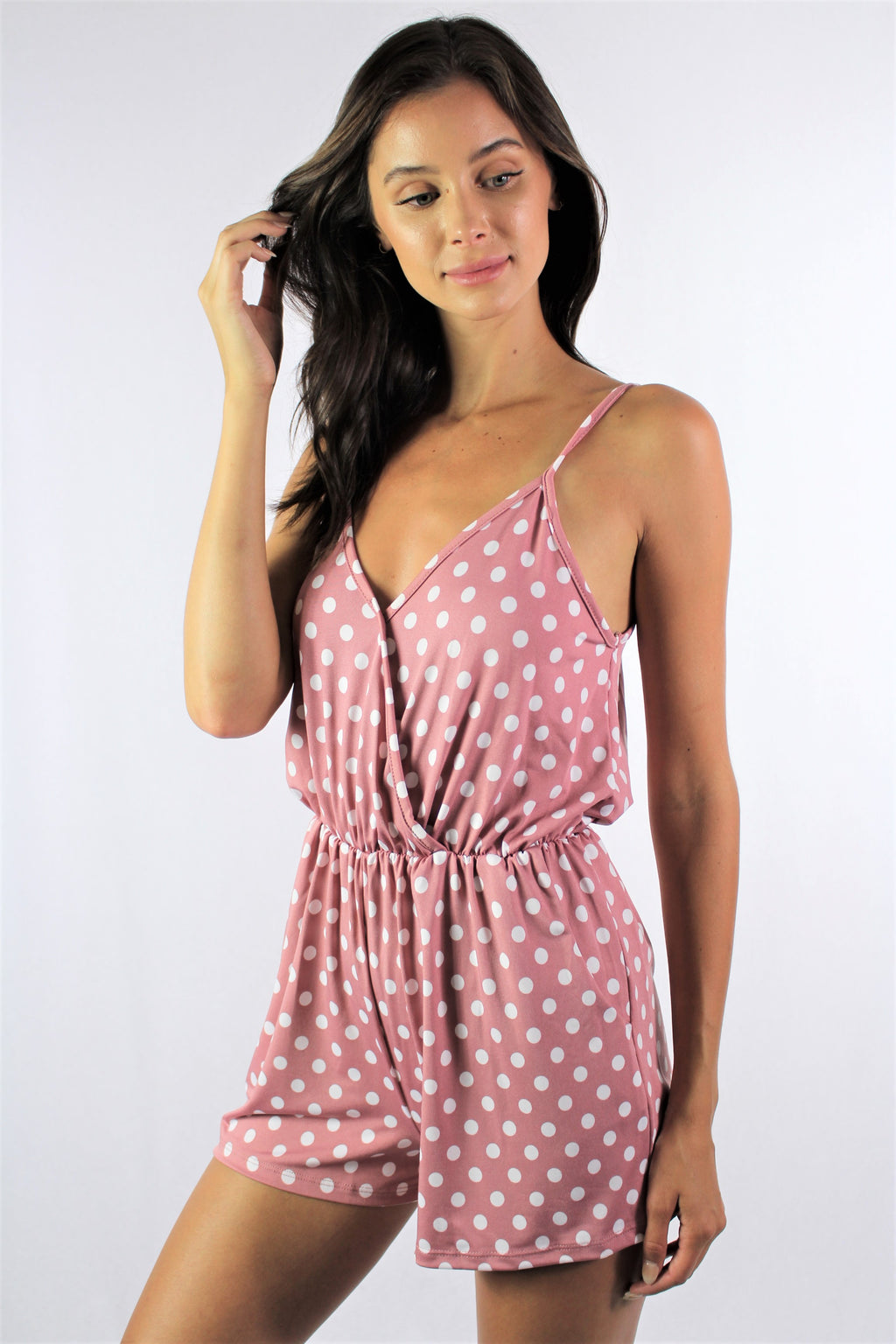 Women's Strappy Polka Dot Romper with Pockets *