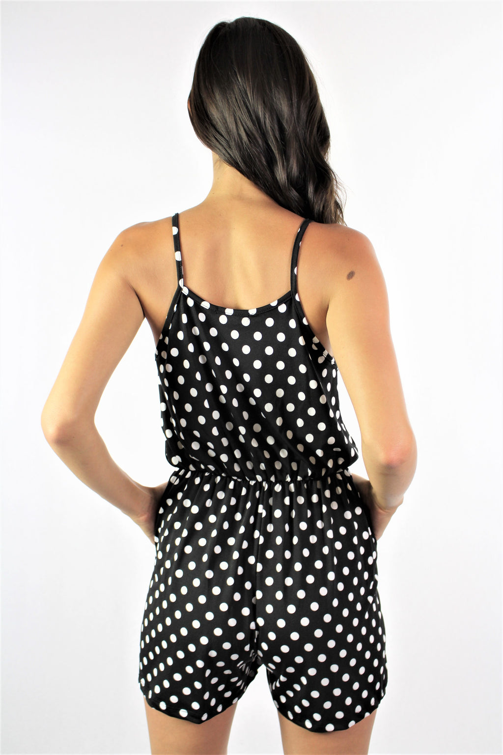 Women's Strappy Polka Dot Romper with Pockets