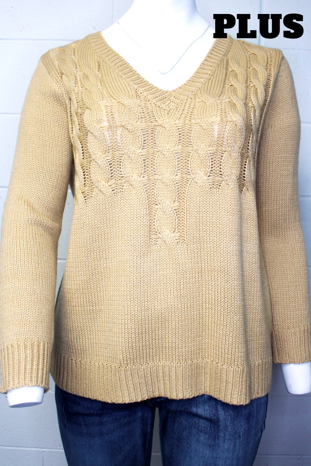 Women's Plus Size Long Sleeve V-Neck Knitted Sweater