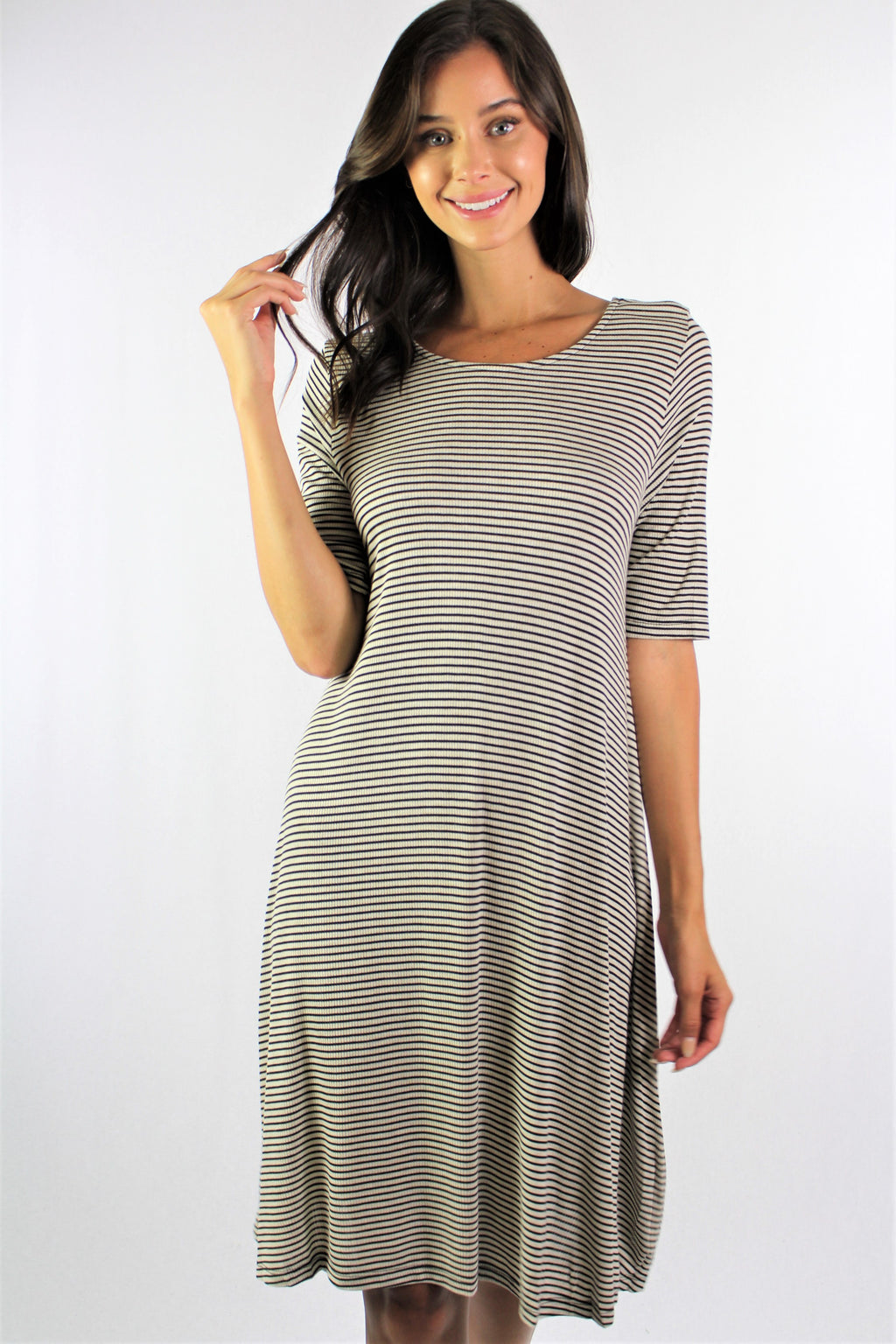 Women's 3/4th Sleeve Stripe Semi Open Back Dress