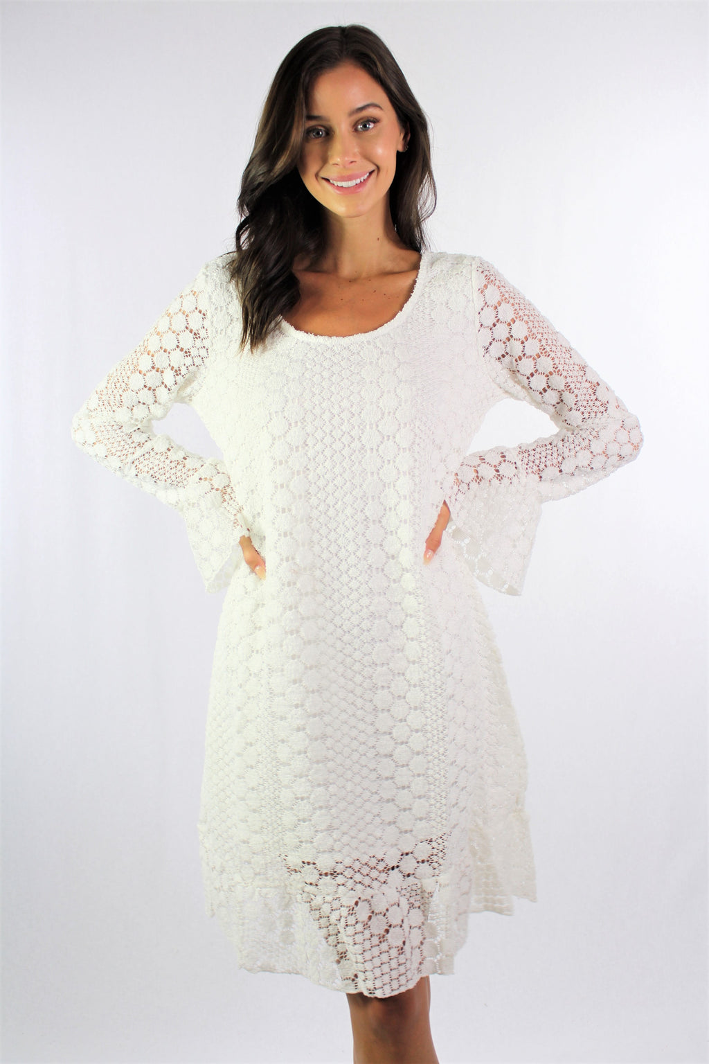 Women's Pure White Crochet Dress with Bell Sleeve