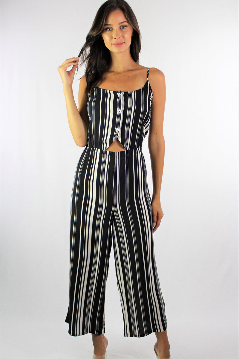 Women's Strappy Black Stripe Jumpsuit with Button Detail
