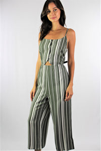 Women's Strappy Olive Jumpsuit with Button Detail