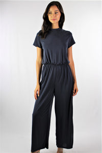 Women's Short Sleeve Open Back Jumpsuit