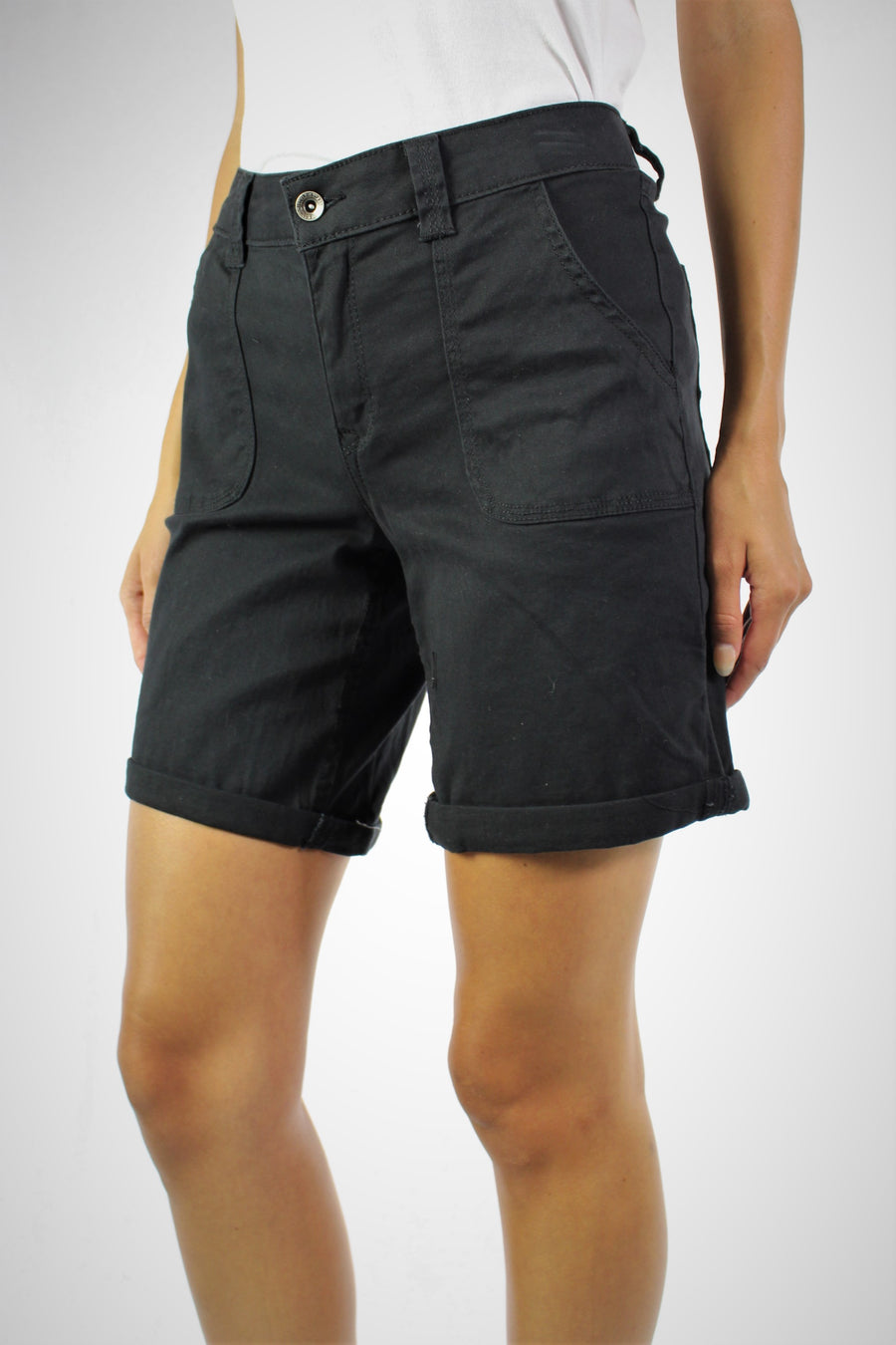 Ladies Black Cord Shorts Sizes 8-10-12-14-16 Brand New