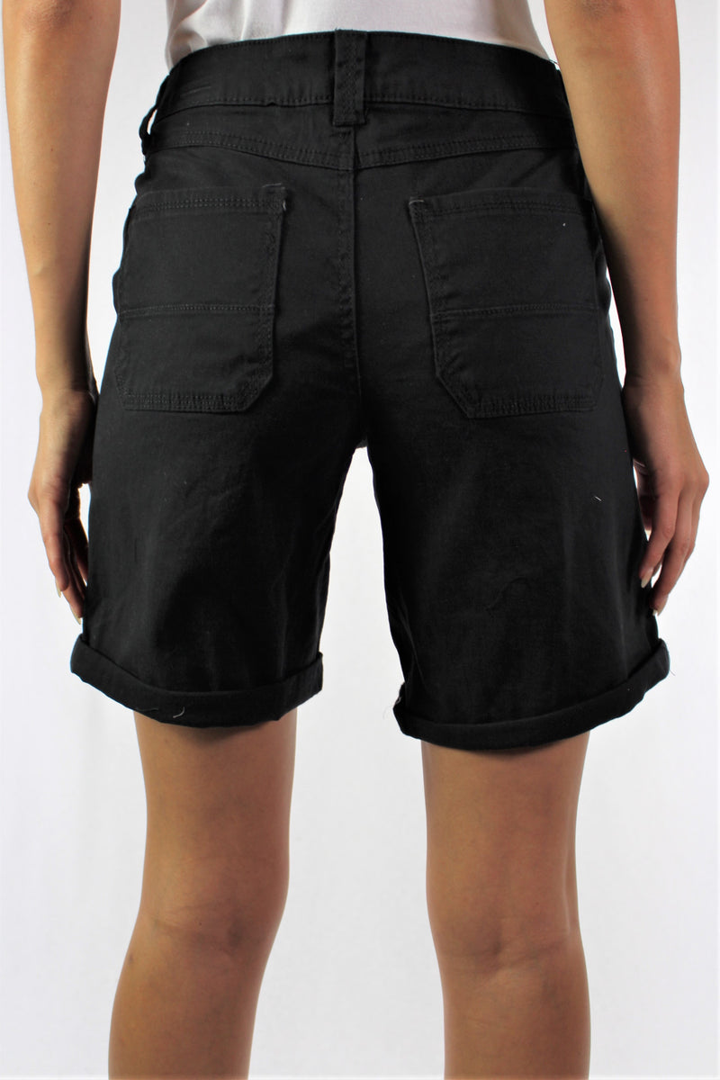 Women's Cuffed Shorts with Front and Back Pockets