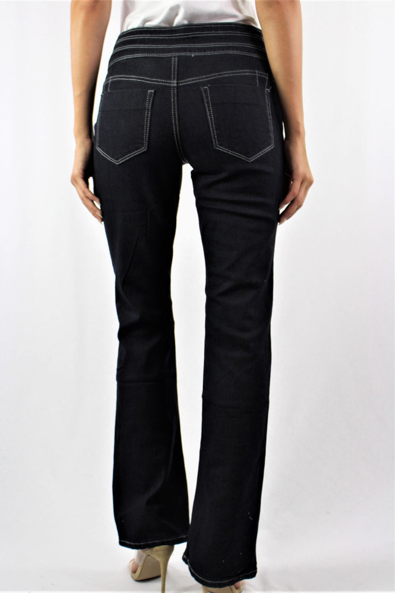 Women's Straight Cut Triple Button Jeans