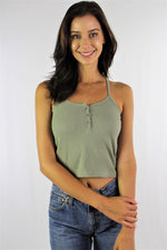 Women's String Strap Crop Top with Front Button