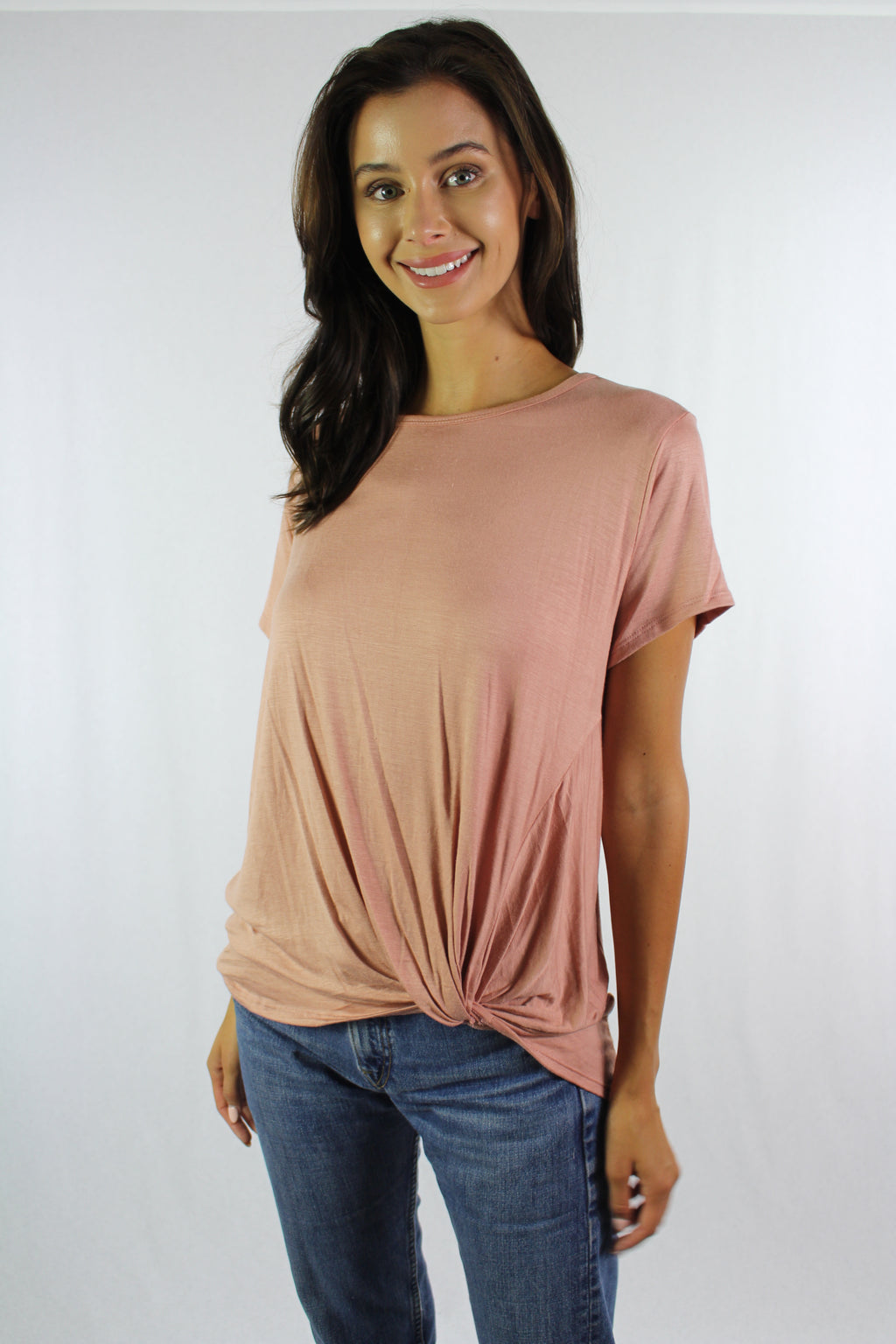 Women's Short Sleeve Round Neck Top with Front Twist