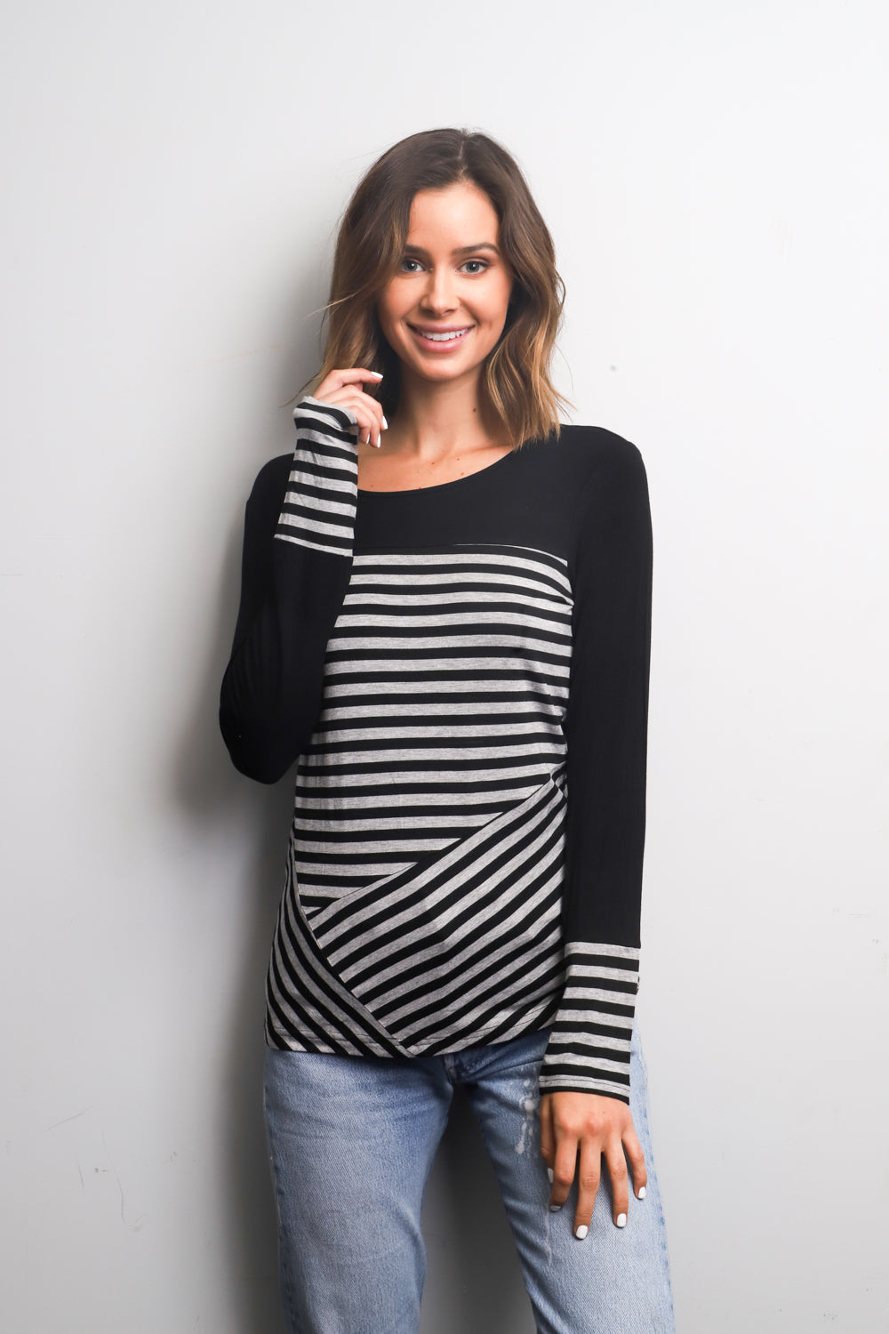 Black long sleeve striped top