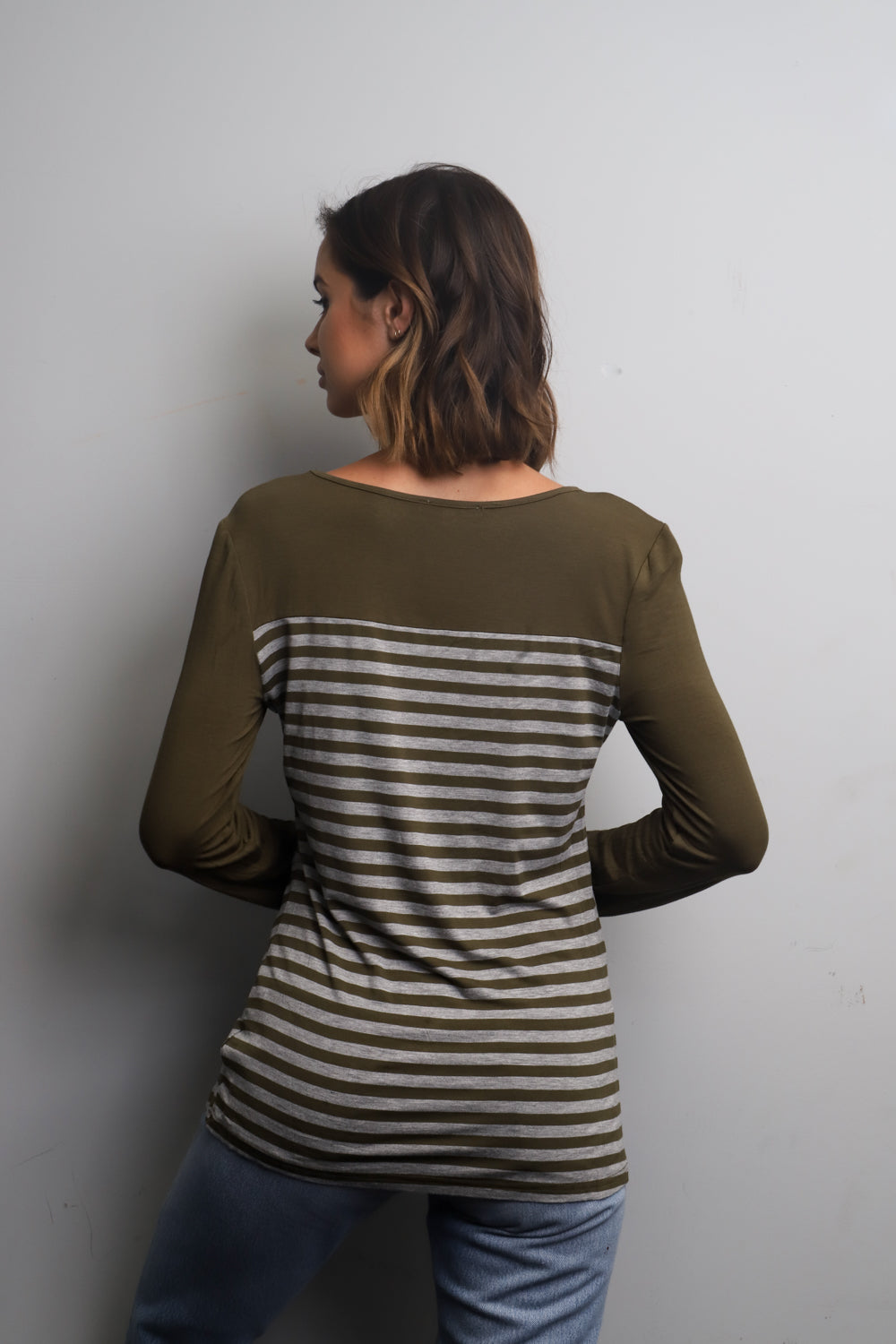 olive long sleeve striped top