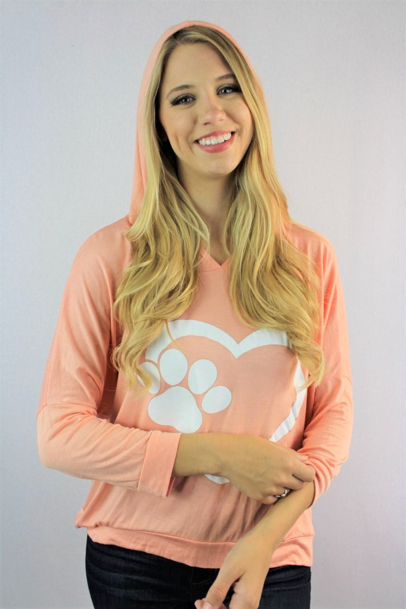 "Women's 3/4th Sleeve ""Paws & Heart"" Hoodie"