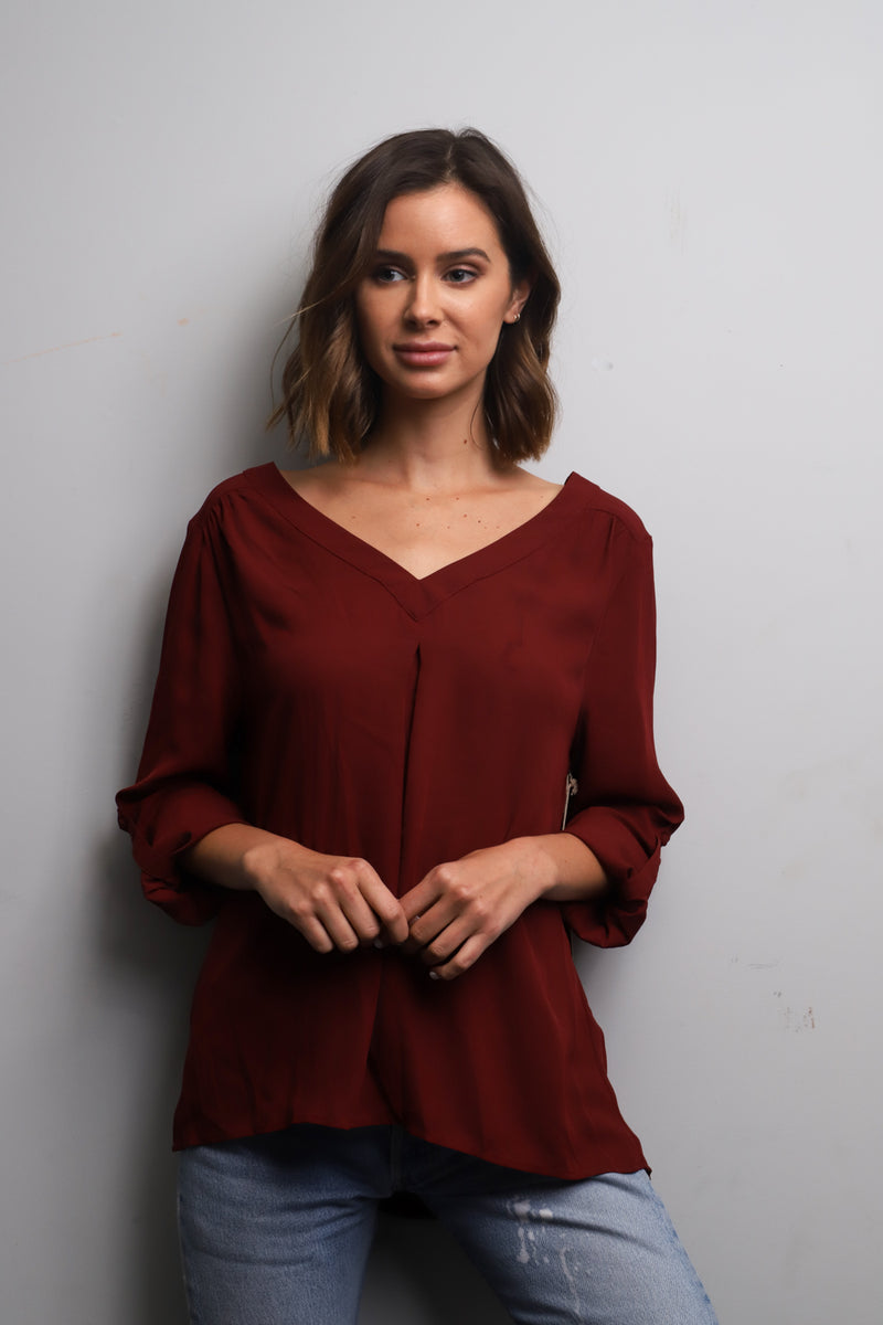 Long sleeve Burgundy open back blouse