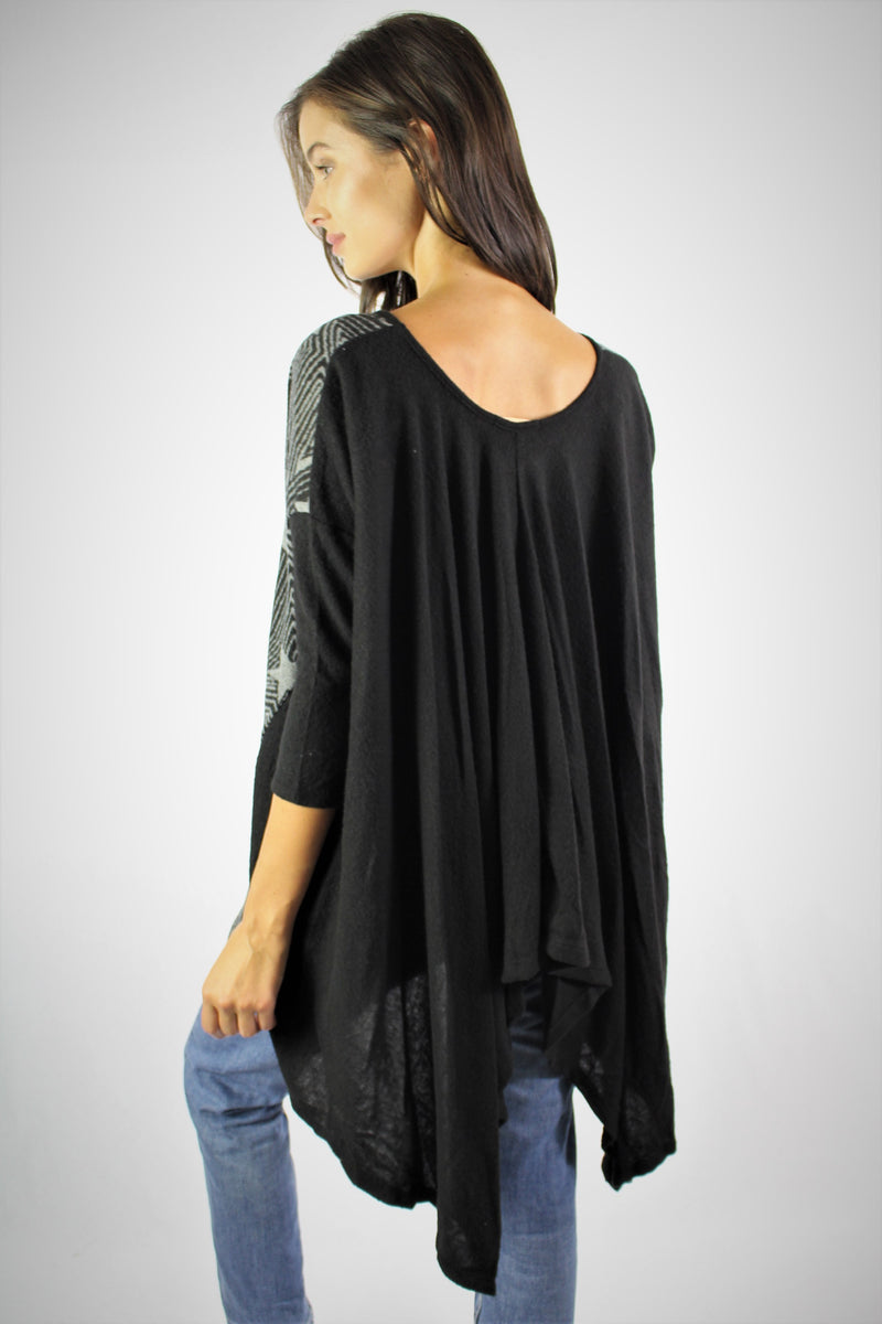 Women's Long Sleeve Relaxed Tunic with Cinched Back Detail