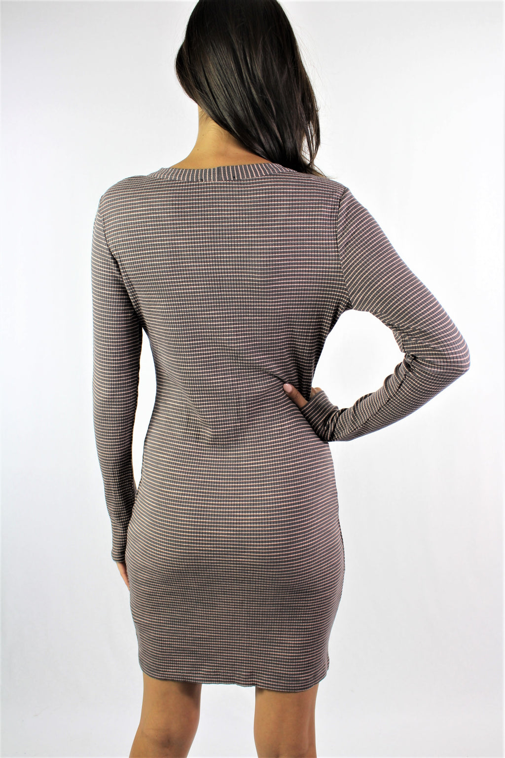 Women's Long Sleeve Button Up Bodycon Dress