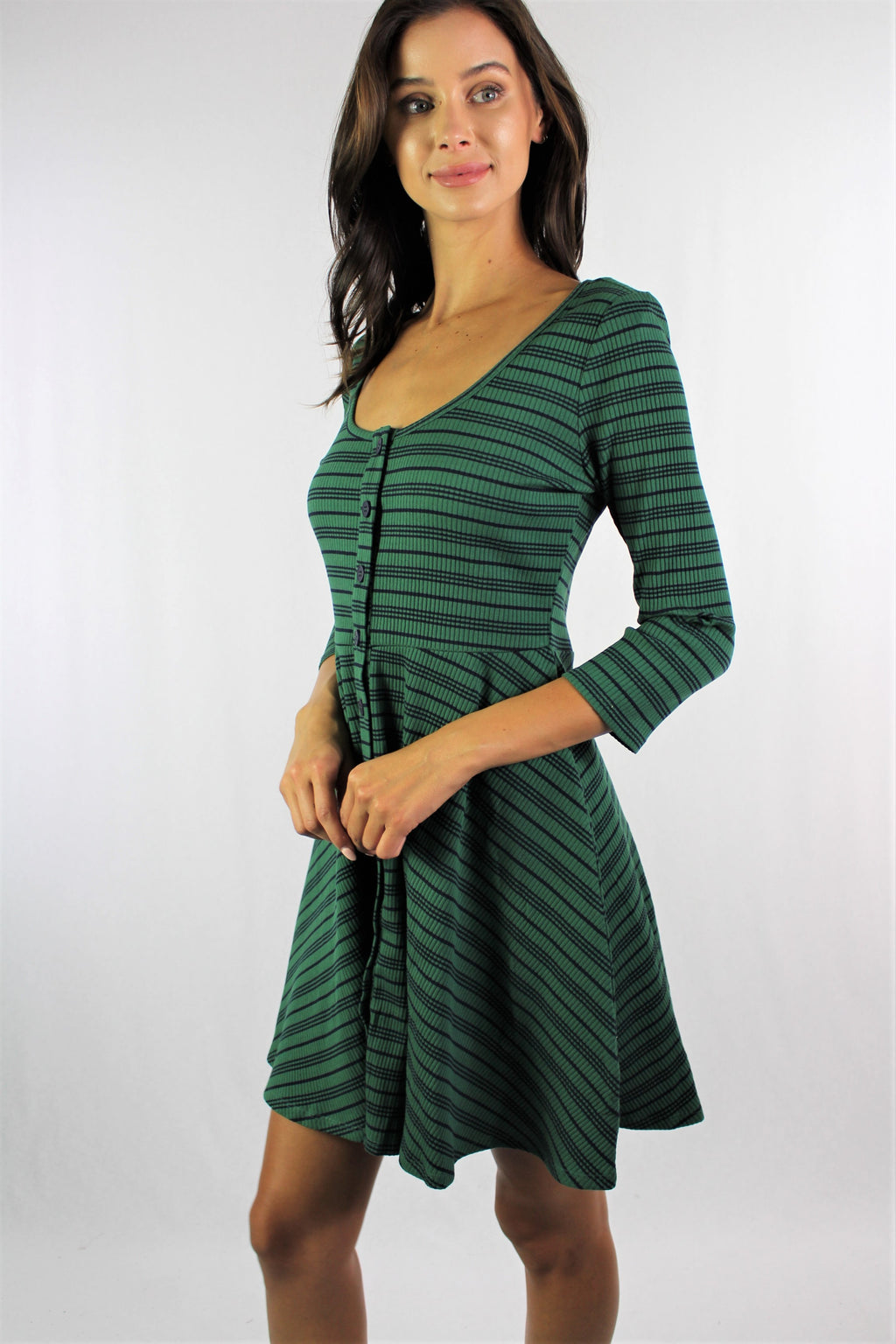 Women's Long Sleeve Button Up Skater Dress