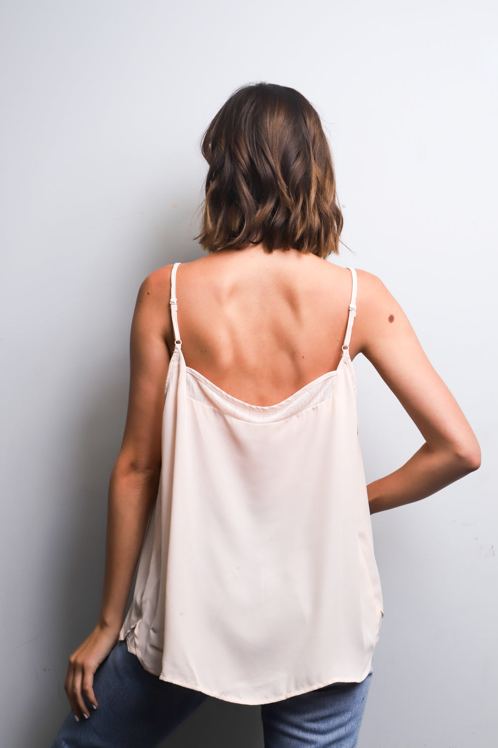 V neck tank top with  embroidered details