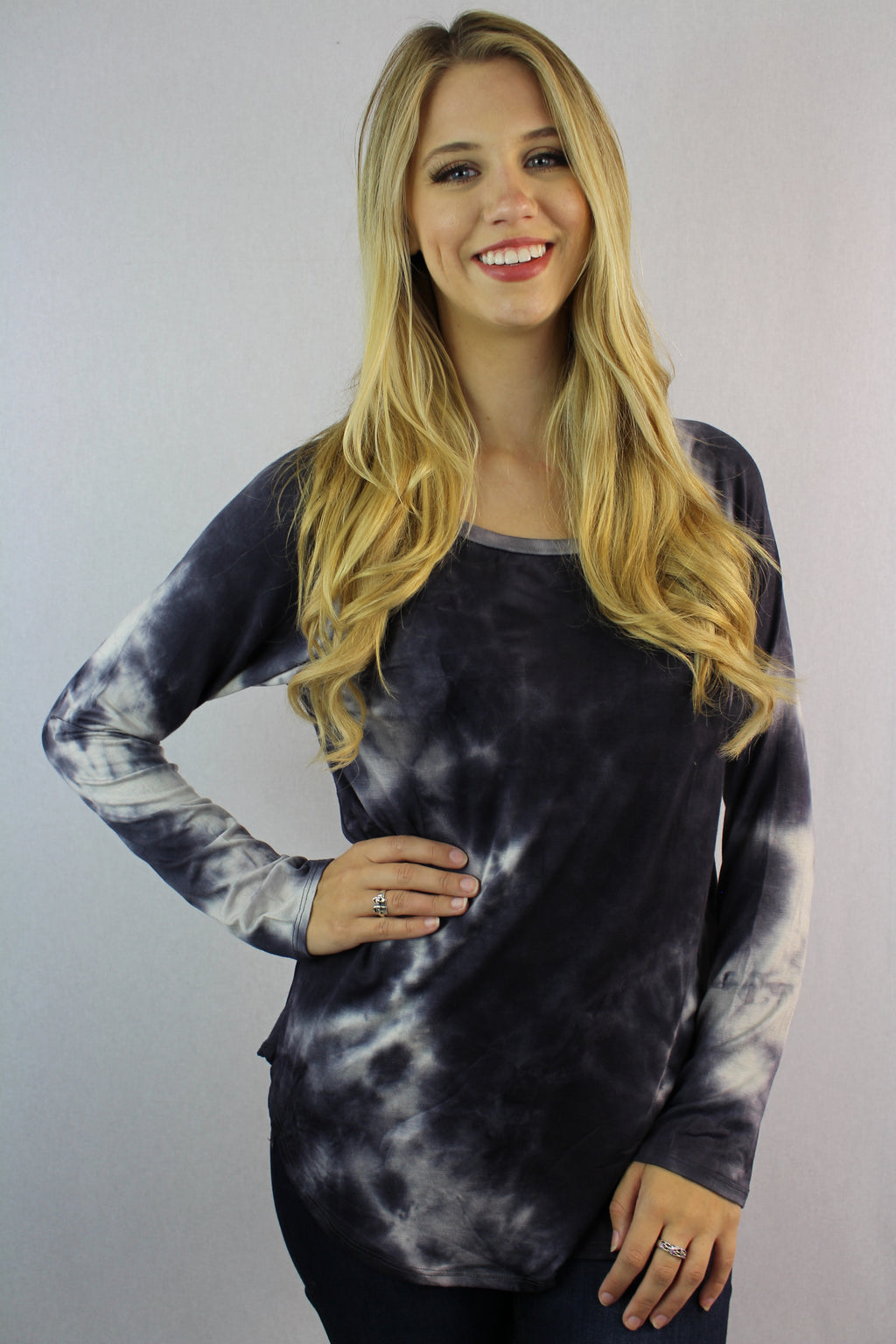 Women's Long Sleeve Round Neck Tie Dye Top